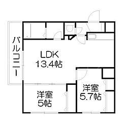 北海道札幌市中央区南八条西16丁目の賃貸マンションの間取り