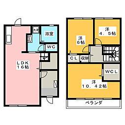[テラスハウス] 岡山県岡山市南区福田 の賃貸【/】の間取り