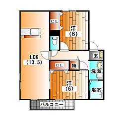 メープル南口B棟[102号室]の間取り