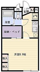 大阪府八尾市美園町2丁目の賃貸アパートの間取り