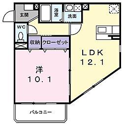 兵庫県明石市松江の賃貸マンションの間取り