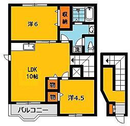 栃木県宇都宮市兵庫塚3丁目の賃貸アパートの間取り