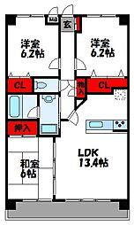 福岡県古賀市花見東5丁目の賃貸マンションの間取り