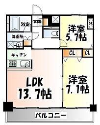 仙台市地下鉄東西線 青葉通一番町駅 徒歩2分の賃貸マンション 14階2LDKの間取り
