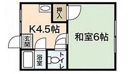 植野アパート 中[2階]の間取り