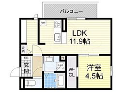 阪急宝塚本線 庄内駅 徒歩19分の賃貸アパート 3階1LDKの間取り