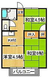 清水コーポ[1階]の間取り
