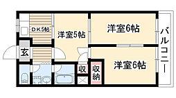 スカイハイツA・B[B203号室]の間取り