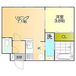 北海道北広島市中央6丁目の賃貸マンションの間取り