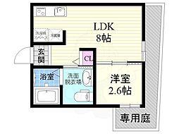 JR東海道・山陽本線 西大路駅 徒歩7分の賃貸マンション 1階1LDKの間取り