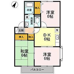 神奈川県相模原市中央区淵野辺本町4丁目の賃貸アパートの間取り