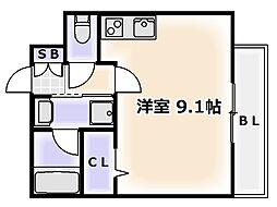 エグゼ難波南II[3階]の間取り