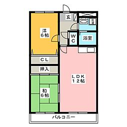 ベルビュ21[1階]の間取り
