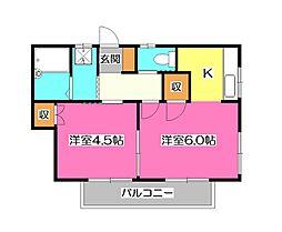 コーポヤイタ2[2階]の間取り