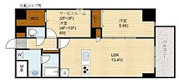 Domizil FUKU(ドミツィール福)[4階]の間取り