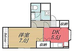 千葉県千葉市若葉区小倉台7丁目の賃貸アパートの間取り