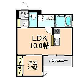 クレアージュ玉井 3階1LDKの間取り
