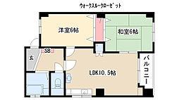 愛知県名古屋市昭和区上山町4丁目の賃貸マンションの間取り