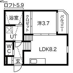 愛知県名古屋市中川区柳堀町の賃貸アパートの間取り