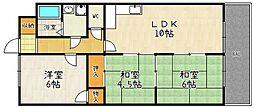 京都府京都市山科区勧修寺閑林寺の賃貸マンションの間取り