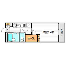 Osaka Metro谷町線 守口駅 徒歩18分の賃貸マンション 2階1Kの間取り