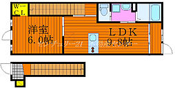 JR山陽本線 北長瀬駅 徒歩25分の賃貸アパート 2階1LDKの間取り