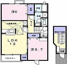 岡山県玉野市田井4の賃貸アパートの間取り
