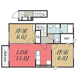 JR総武本線 八街駅 徒歩17分の賃貸マンション 2階2LDKの間取り