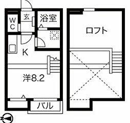 Calm矢田 2階ワンルームの間取り