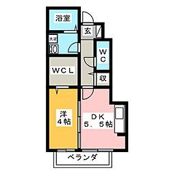 モダンコート新堀[1階]の間取り