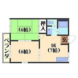 タウニィ坂[201号室]の間取り