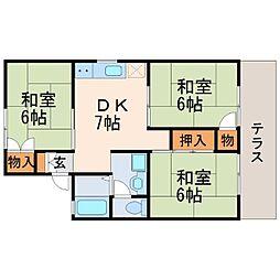 兵庫県西宮市熊野町の賃貸アパートの間取り