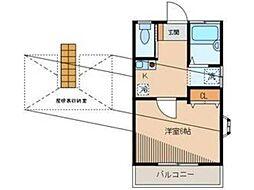 東京都立川市柏町3丁目の賃貸アパートの間取り