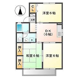 岡山県倉敷市連島中央2丁目の賃貸アパートの間取り