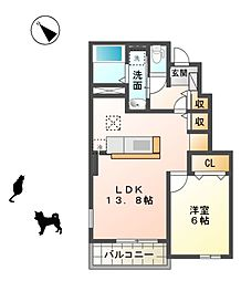 滋賀県東近江市建部堺町の賃貸アパートの間取り