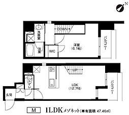 Osaka Metro谷町線 谷町四丁目駅 徒歩4分の賃貸マンション 14階1LDKの間取り