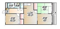 リバーコート三田[4階]の間取り