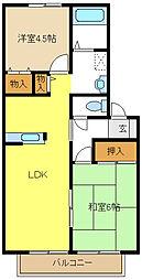 愛知県名古屋市天白区中平5丁目の賃貸アパートの間取り
