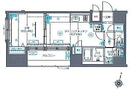 ZOOM新宿南First 2階1DKの間取り