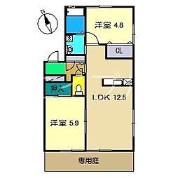 ラ・ベルターナ2 A棟[1階]の間取り