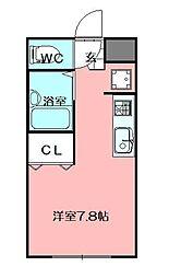 LEGEND181 B棟 2階ワンルームの間取り