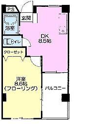 JR東北本線 福島駅 徒歩4分の賃貸マンション 7階1DKの間取り