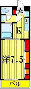 間取り,1K,面積26.08m2,賃料6.5万円,東武伊勢崎線 竹ノ塚駅 徒歩11分,東武伊勢崎線 谷塚駅 徒歩31分,東京都足立区竹の塚5丁目34-