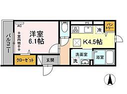 (仮称)D-room小田原市浜町アパート 1階1Kの間取り