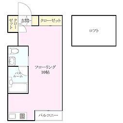 西片江アパートメントB棟[2階]の間取り