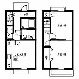 愛知県稲沢市一色下方町の賃貸アパートの間取り