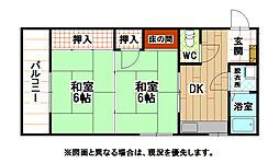福岡県北九州市小倉北区神岳2丁目の賃貸マンションの間取り