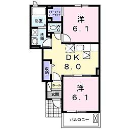 高松琴平電気鉄道長尾線 平木駅 徒歩9分の賃貸アパート 1階2DKの間取り