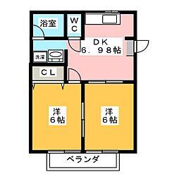 ベルビュー2[1階]の間取り