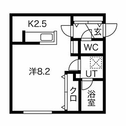 札幌市営南北線 澄川駅 徒歩5分の賃貸マンション 2階1Kの間取り